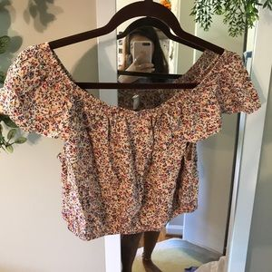 Xhilaration cropped floral button front top